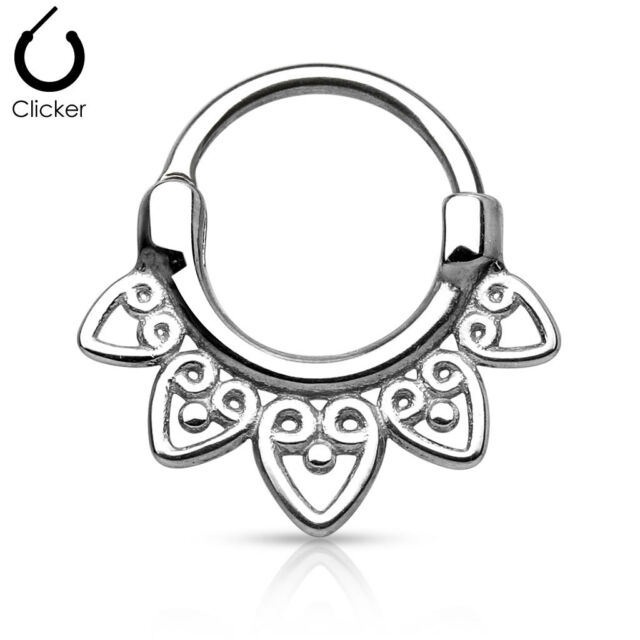 1pc 100% SURGICAL STEEL Tribal Fan Septum Clicker Nose Ring