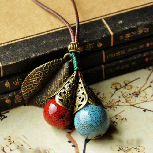 Ceramic Sweater Chain Necklace Pendant Boho Long Ornament Women Vintage String