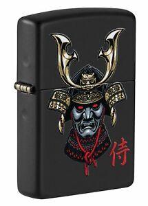 Zippo-Samurai-Helmet-Design-Black-Matte-Windproof-Pocket-Lighter-49259