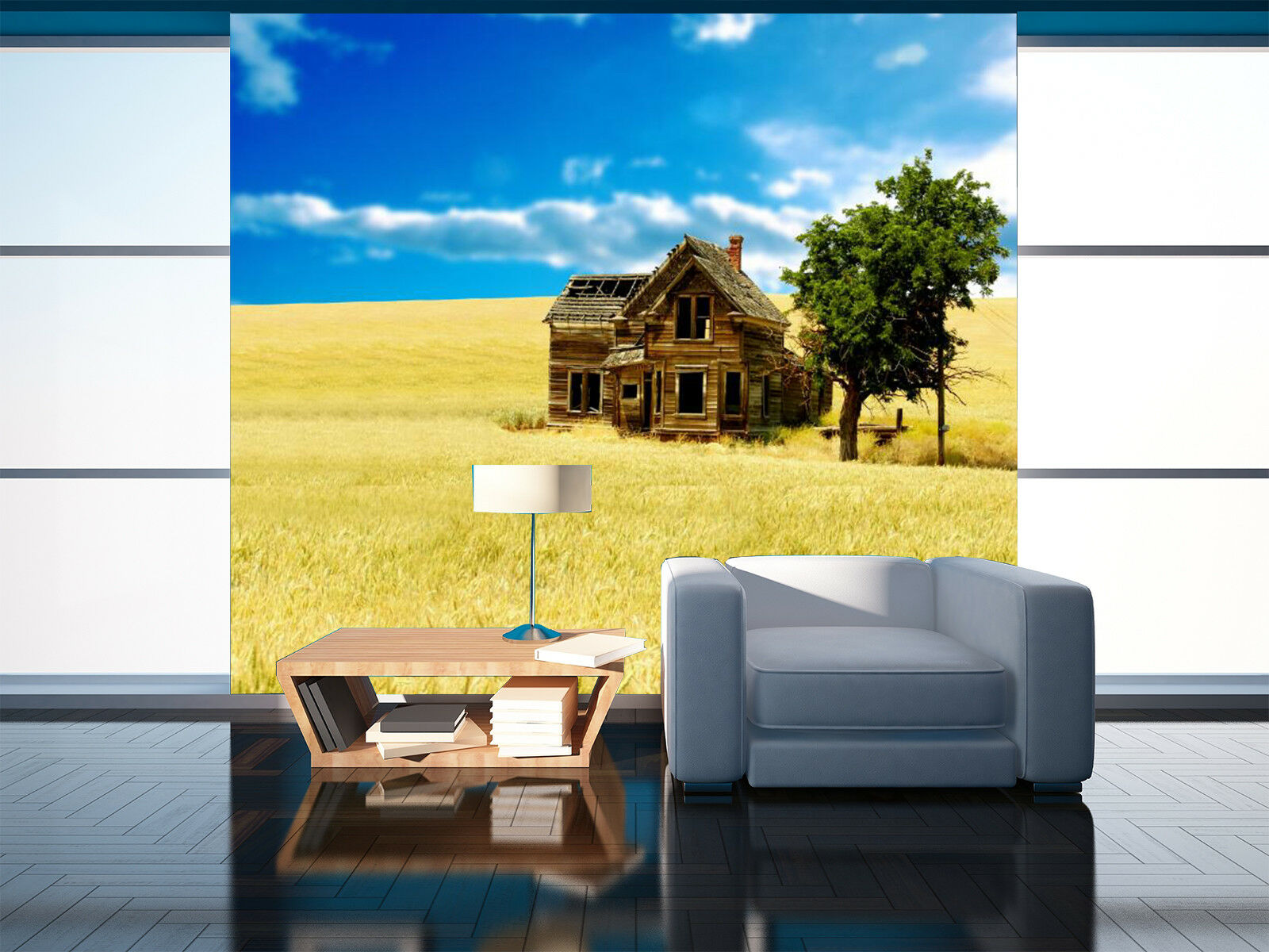 3D House Paddy 4 Wallpaper Murals Wall Print Wallpaper Mural AJ WALL AU Lemon