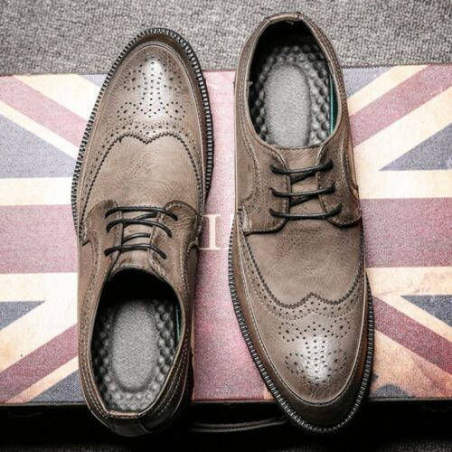 Men/'s Leather Shoes Dress Formal Lace up Brogue wing tip Wedding Suit Oxfords