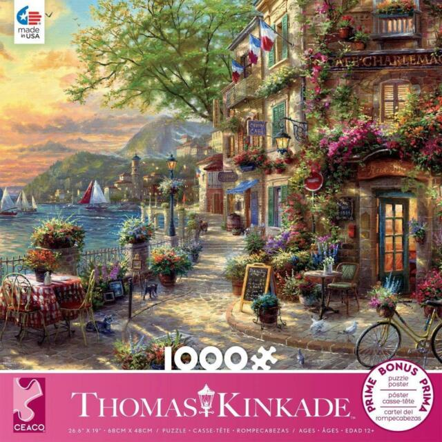 Thomas Kinkade Christmas.Ceaco Thomas Kinkade Jigsaw Puzzle French Riviera Cafe 1000 Pcs 3310 72