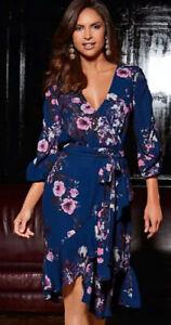 Kaleidoscope-Floral-V-Nevk-Wrap-Dress-New-Size-14-Worth-75