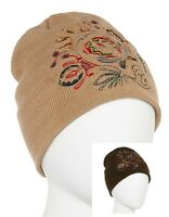 Mixit Womens Beanie Hat Solid W Embroidered Acrylic Wear 2 Ways One Size