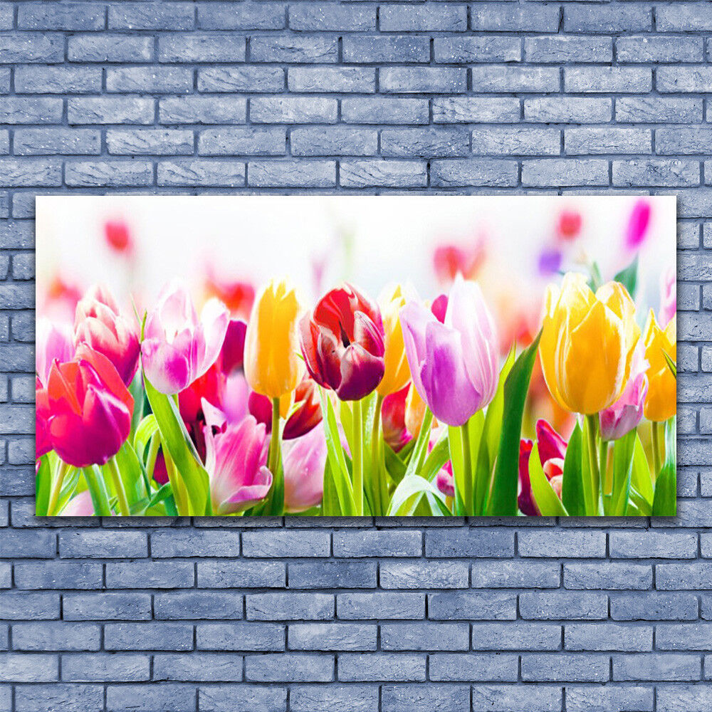 Print on Glass Wall art 140x70 Picture Image Tulips Floral Floral Floral b4122d