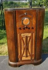 1936 40 Tall Working Rca Victor C9 4 Console Tube Radio Burled Walnut Magic Eye