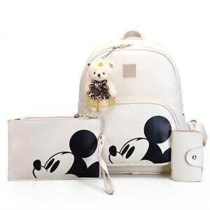 Detalles de 3Pcs Bolsas De Mujer Mickey Mouse Conjunto Mochila Bolso de embrague portatarjetas ver título original