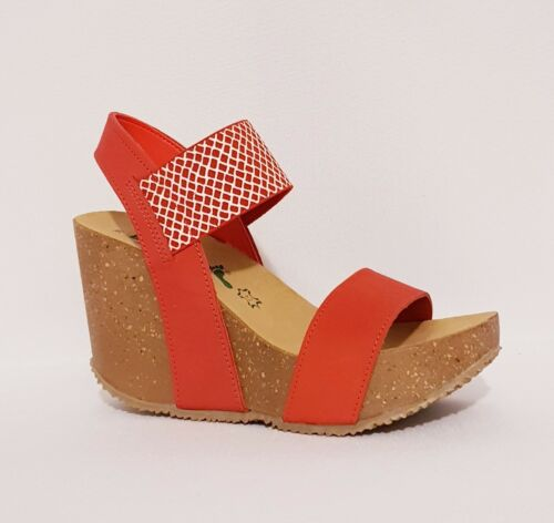 Made Italy 885 donna in A 29 vera con rosso pelle Sandali Bionatura color In da corallo zeppa wS76Fxq