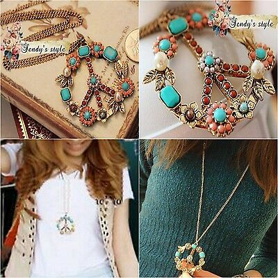 Vintage Peace Sign Pendant Long Necklace Crystal Choker Collar For Women