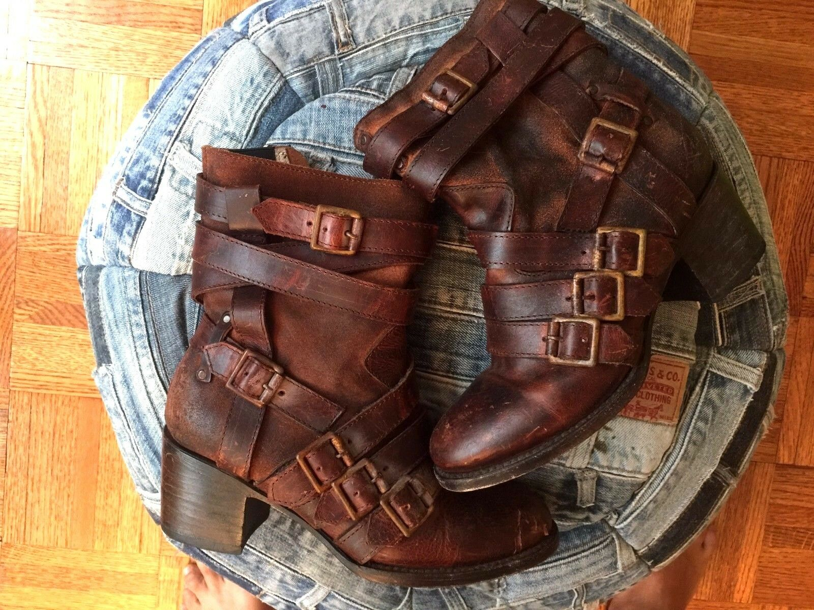 FREEBIRD Colt Boots Leather Brown Women's US 7 Straps Buckles Steampunk Boho