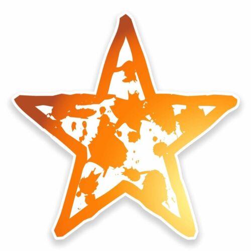 2 x Orange Star Vinyl Sticker Car Travel Luggage #9589