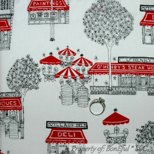BonEful Fabric FQ Cotton Quilt White Black Red B/&W VTG City Town Shop Cafe Tree
