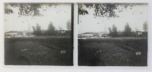 Francia Village Foto Stereo P50L3n3 Placca Da Lente Vintage c1930