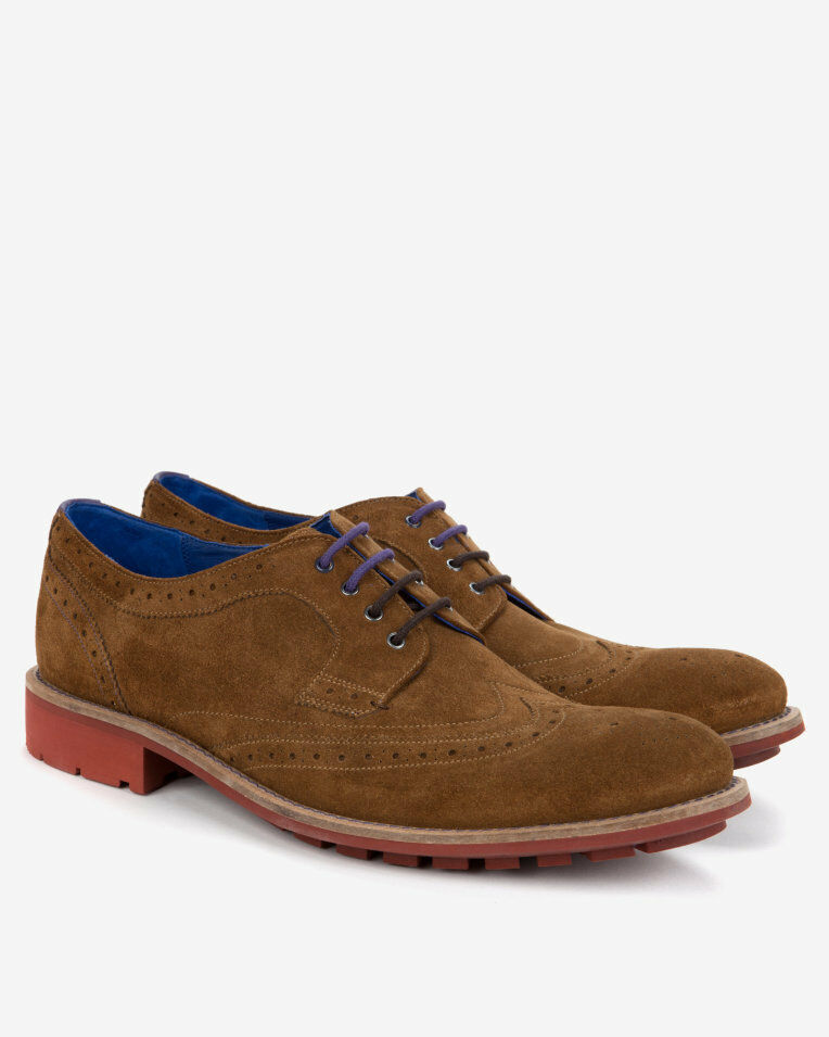 Nouveau  160 Ted Baker HONTAAR 9-13984 Tan Daim Bout D'Aile Derby souliers Brogues Chaussures Taille 9