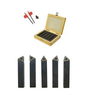 """5-Piece 3//8/"""" Indexable Carbide Tool Bit Sets C6 With 10pc Inserts"""