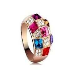 Women Luxury Colorful Rhinestone Crystal Finger Ring Jewelry Size 8