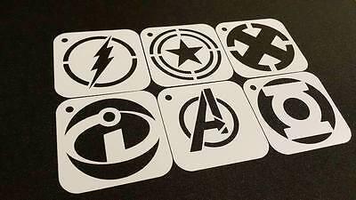 Kids Face Painting Super Héros Lot de 3pcs Pochoirs Flash Captain America X Man