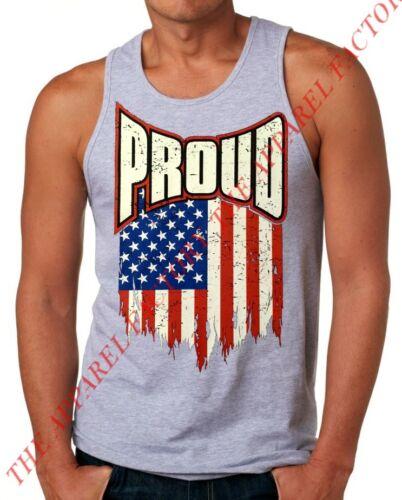 New Men/'s Proud US Flag Gray Tank Top S-3XL USA American ufc mma biker
