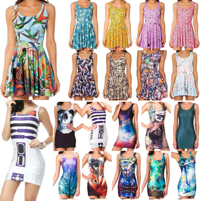 Women Lady Graphic Print Sleeveless Pleated Skater Skirt Bodycon Dress Vest Tank