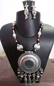 Statement-Mirror-Necklace-Gypsy-Tribal-Boho-Vintage-Kuchi-Womens-Fashion-Jewelry