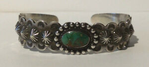 ROUTE-66-ERA-VINTAGE-STERLING-SILVER-GREEN-TURQUOISE-NAVAJO-CUFF-BRACELET