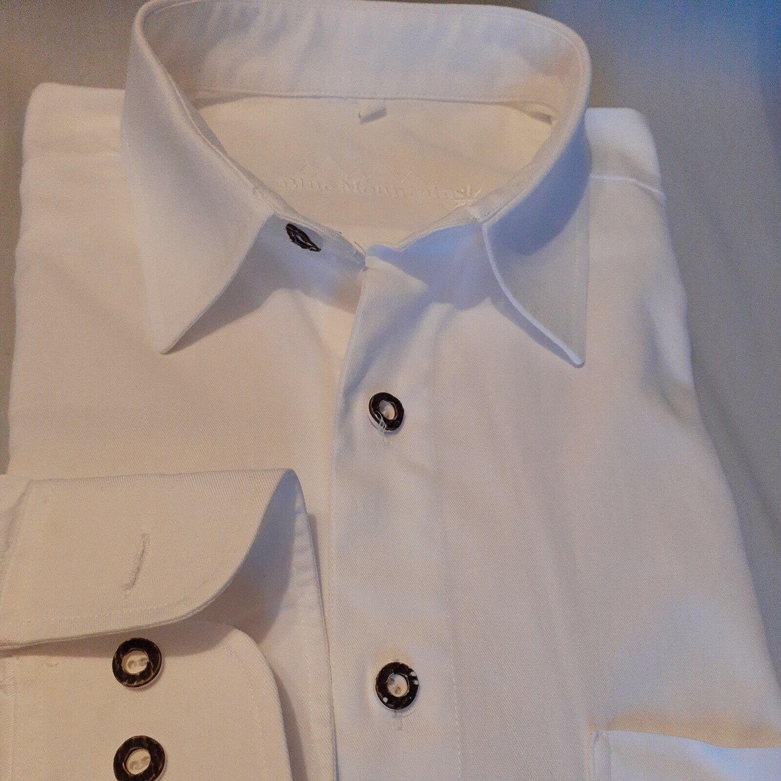 Trachten Hemd Gr L 41/42 Brust 62 cm Weiß Top Zust. Regular Stickerei Länge 86