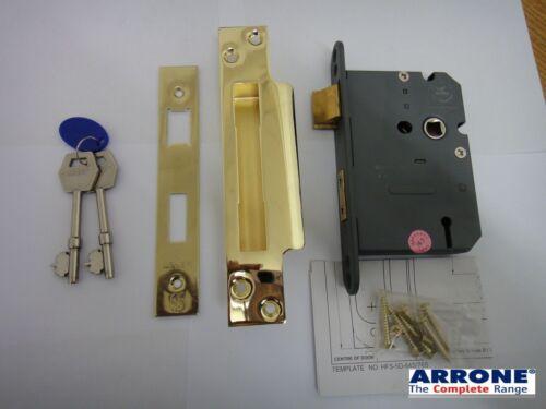 "ARRONE HOPPE 76mm 5 LEVER SASHLOCK SASH LOCK POLISHED BRASS NEW 3/"""