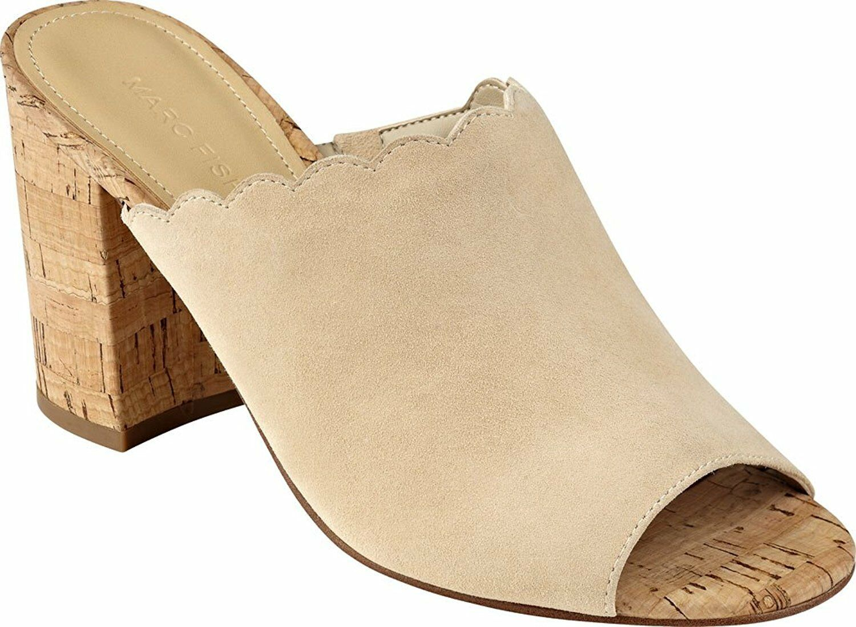 Marc Fisher Women's Mule Cork Block Heel Pomme Ambra Suede