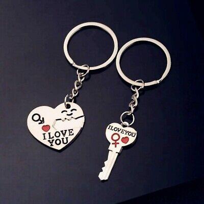 "Romantic Gift For Her Him /""I Love You/"" Keyring Heart Key Lover Couple Key Ring"
