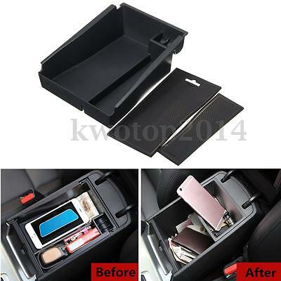 Black Central Console Armrest Storage Box With Mat For Hyundai Tucson 2016
