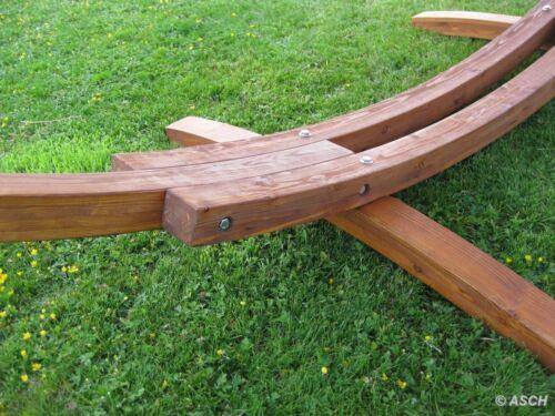KISSEN 410cm Hängemattengestell Holz Lärche mit Stab Hängematte EDELSTAHL