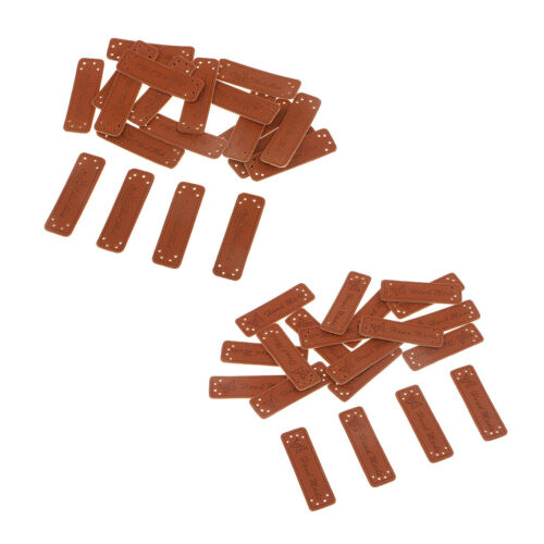 40pcs PU Leather Retro Brown Synthetic Handmade Label Tags Sew Craft Patches