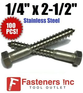 "1//4 x 2/"" Stainless Steel Hex Lag Screws Qty 100"