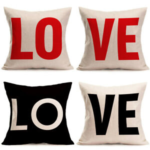 Details About Red Black Love Letter Pillow Case Sofa Waist Throw Cushion Cover Home Decor