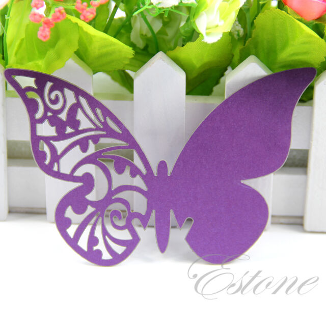 50/100 pcs Table Mark Wedding Party Favor Wine Glass Butterfly Name Place Cards
