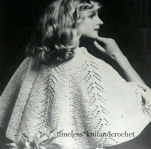Knitting Pattern For Bed Shawl : VINTAGE KNITTING PATTERN FOR A SHOULDER WRAP / BED JACKET / SHAWL
