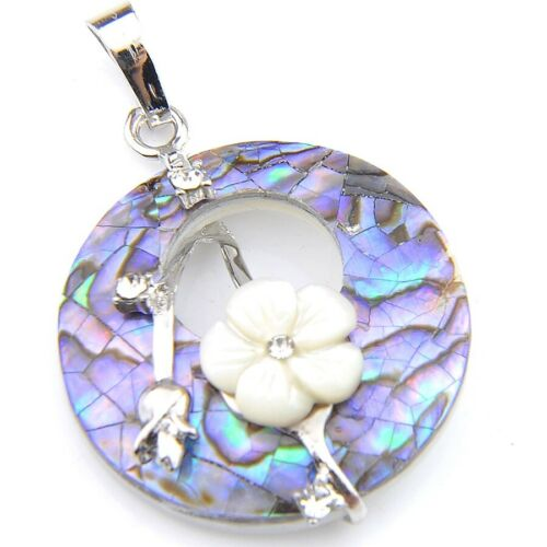 Handmade Jewelry Abalone Shell Flower Carved Shell Solid Silver Necklace Pendant