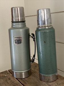 Vintage Stanley Thermos Set Metal 2QT 1QT Green Silver Sturdy Coffee Camping