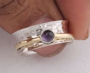 Amethyst-Stone-Solid-925-Sterling-Silver-Wide-Band-Spinner-Ring-Meditation-Ring