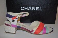 CHANEL Ankle Strap slingback Flower Block Low Heel Sandals Shoe 8 Silk Fabric 38