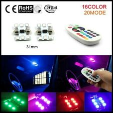 2 PC LED LIGHT BULB CAR INTERIOR RGB REMOTE CONTROL 6 SMD 5050 BULBS CYREX 31MM