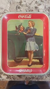 Vintage 1942 Two Girls at Car Roadster Coca-Cola Tray Original Coke Serving Tray