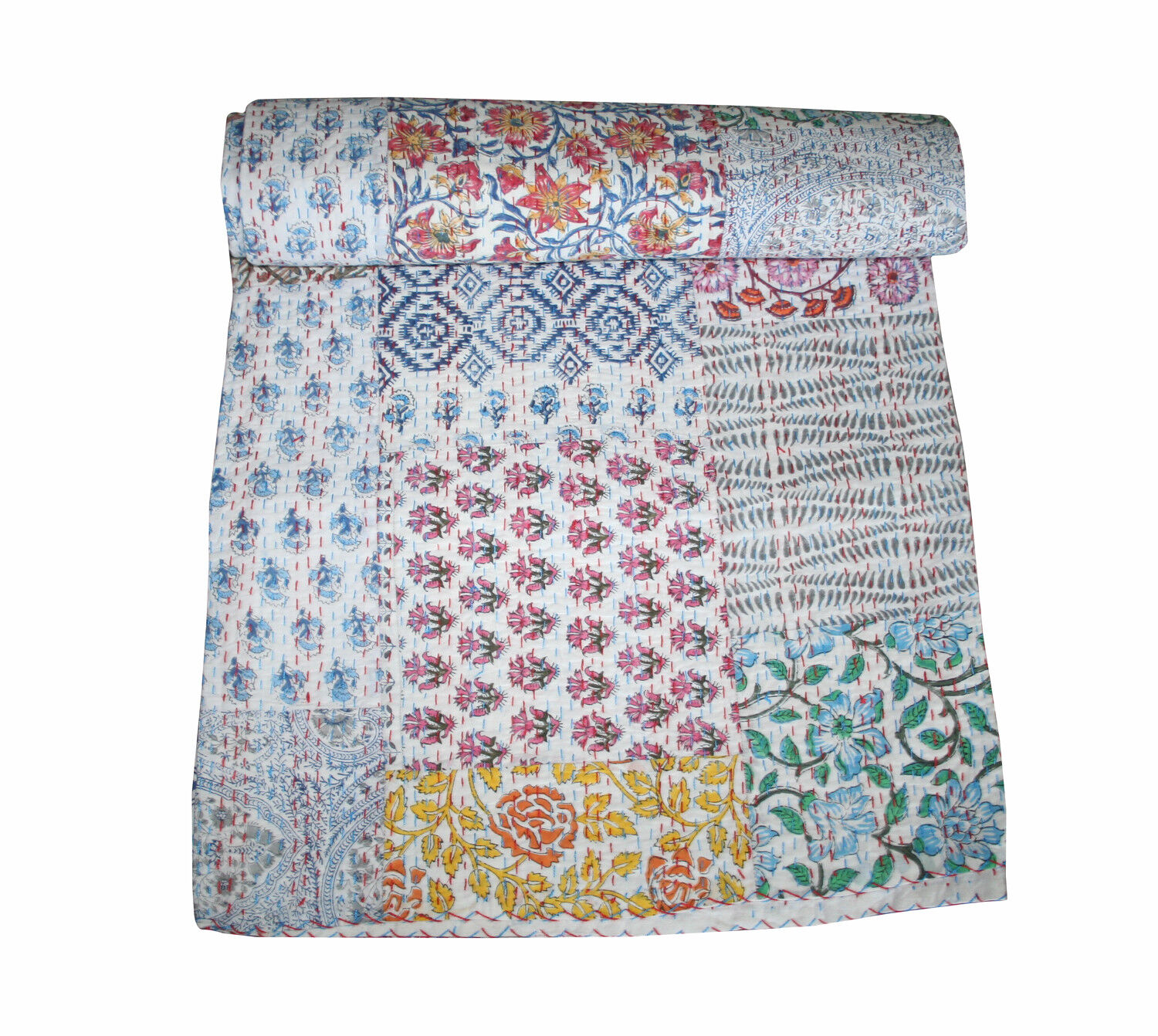 Multi Flower Hand Print Kantha Quilt Patchwork Throw Blanket Bedspread King Size