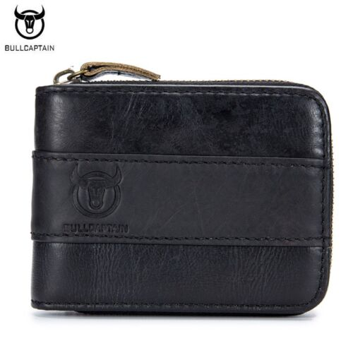 BULLCAPTAIN Men Wallets Cow Genuine Leather Purpse Fashion Card Slots Wallet New