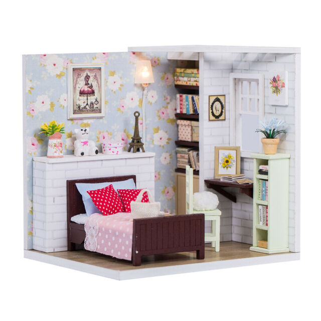 DollLabs DIY Miniature house mini dollhouse Kit with LED Light for Girl Gift Set