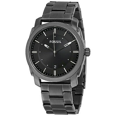 Fossil Machine Black Dial Smoke IP Stainless Steel Mens Watch FS4774