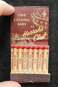 "1950'S ""HARRAH'S CLUB RENO NEVADO CASINO"" 30 Feature Matchbook Nice Shape"