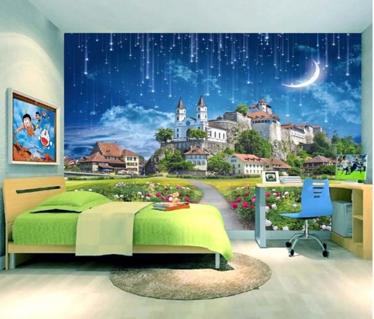 3D Meteor Schloss 753 Tapete Wandgemälde Tapete Tapeten Bild Familie DE Summer