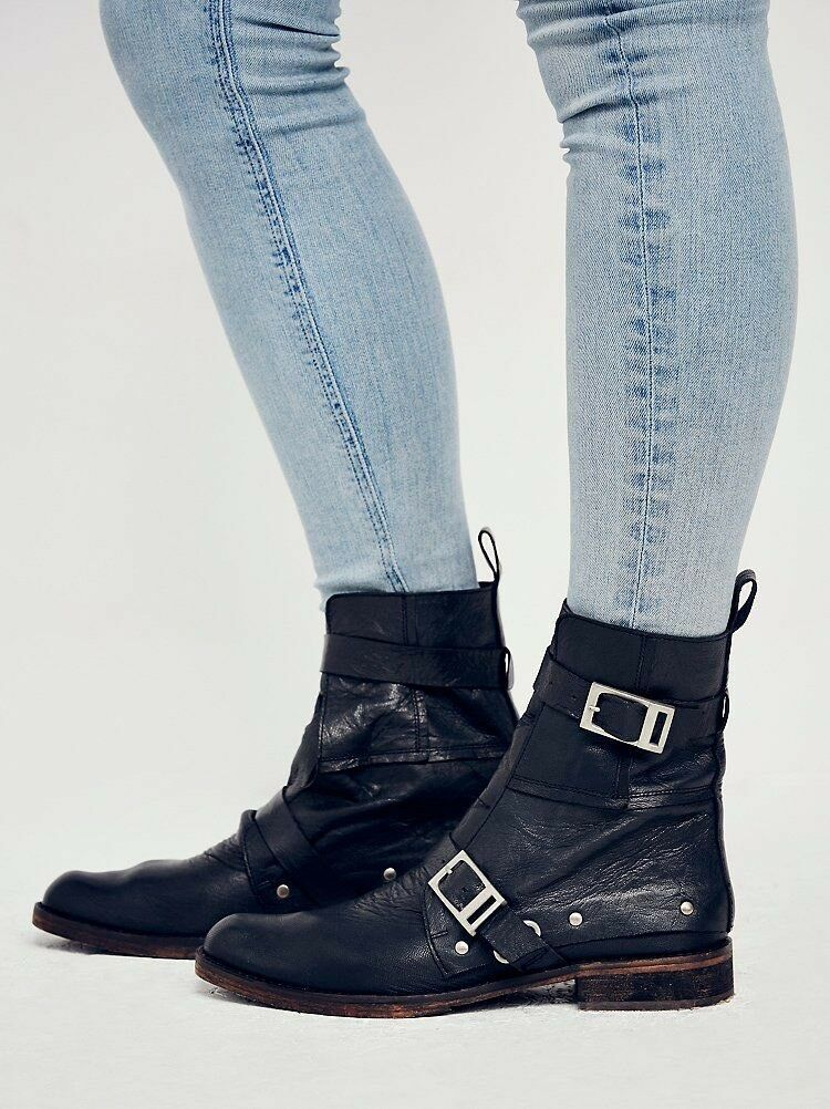 Anthropologie Free People outsiders 38 Moto Cuero botas al Tobillo US 8 EU 38 outsiders 131323
