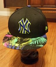 New Era Floral New York Yankees Navy Fitted Cap Hat Flowers Hawaiian 7 3/4